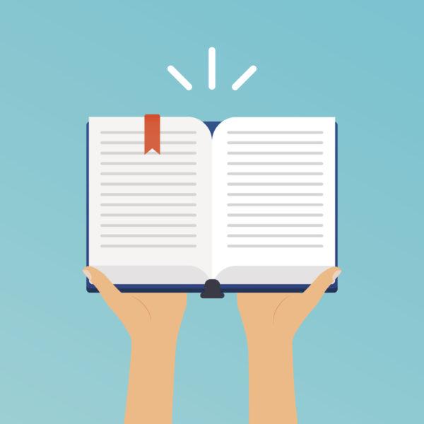 Hands holding an open book. Flat design modern vector illustration concept.