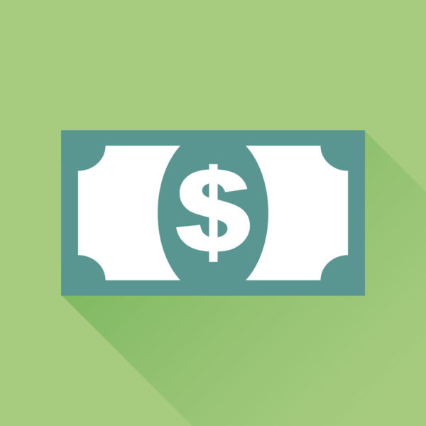 Money icon. Vector illustration in flat style. Dollar with long shadow on green background.